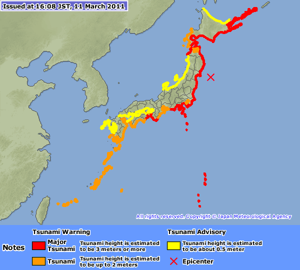 Asian tsunami map